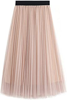 Women's Skirt Long Tulle Skirt Tutu Swing Skirts Pleated Maxi Chiffon Petticoat High Elastic Waist Midi Skirt Flowing Big Hem Party Skirt
