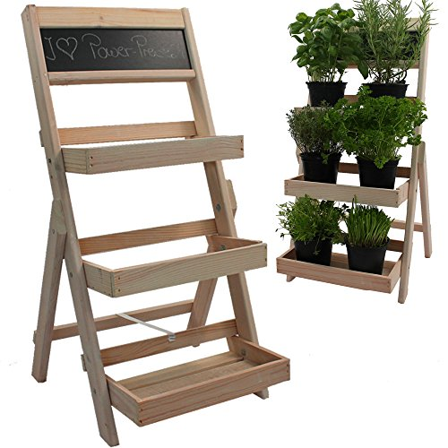 PROHEIM Blumentreppe aus FSC® Holz in Natur Pflanzentreppe mit Kreidetafel Blumenregal mit Imprägnierung wetterfest und langlebig