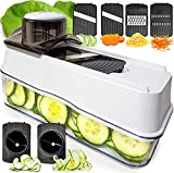 Fullstar Mandoline Slicer Spiralizer Vegetable Slicer - Veggie Slicer 6-in-1 Mandoline Food Slicer with Julienne Grater - Cheese Slicer V Slicer Mandoline Cutter - Vegetable Cutter Zoodle Maker