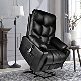 BINGTOO Electric Lift Recliner Chairs for Elderly, Leather Power Lift Recliner Chair with Massage and Heating, with USB Ports, 2 Side Pockets and Cup Holders (Black)