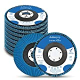 Amoolo 4.5 Inch Flap Discs, 10 PCS-60 Grit Angle Grinder Sanding Wheel, High Density Abrasive Grinding Discs T29 Zirconia for Metal/Wood Grinding (7/8 inch Arbor Size)