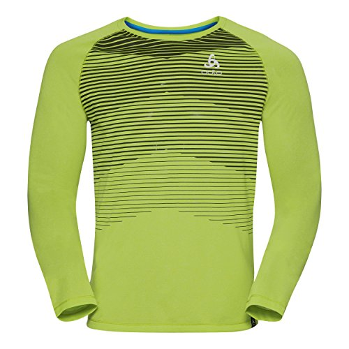Odlo Aion T-Shirt Manches Longues Homme, Acid Lime Mélange/Placed Print Ss18, FR : S (Taille Fabricant : S)