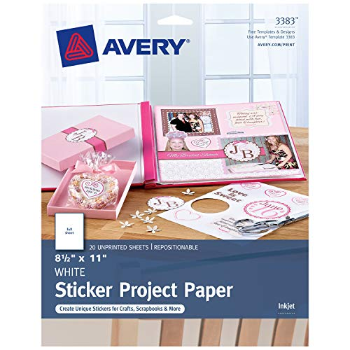 Avery Printable Sticker Paper, Matte White, 8.5' x 11', Inkjet, 20 Sheets (44383)