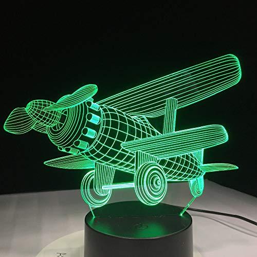 QTYUE 3D-nachtlampje, dimbaar, RGB, kleurverandering voor kinderkamer, kantoor, camping, met acrylbodem en ABS, USB-kabel, 7 verschillende kleuren, vliegtuig