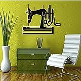 Máquina de Coser Silueta diseño Creativo Pared Pegatina hogar Dormitorio Arte decoración Moderna Vinilo Mural calcomanía 81X42Cm