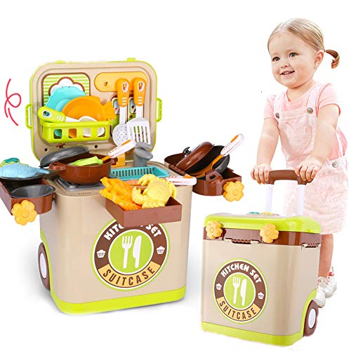 SSRSHDZW Spielhaus 3 in 1 Spielzeug Spielküche Essen Für Kinder Rollenspiel Spielzeug Küchengeschirr Mädchen Set Werkzeugwagen Gepäck Mit Licht Und Tönen Kindergeschenke