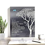 My Love Poem Personalized Tin 10 Year Wedding Anniversary Gift Shiny Tin Bare Trees Winter, Custom Art Print on Paper, Canvas or Metal #1298