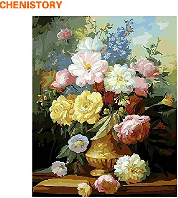 KYKDY Bunte Blaumen-Europa-Art DIY Malen nach Zahlen Kit Zeichnung Malen nach Zahlen für einzigartige Geschenk Wandkunst Bild, 40x50 cm innen gerahmt