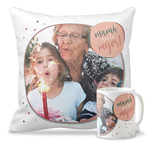 Getsingular Pack Taza + Cojín con Foto para el Día de la Madre | Tazas cerámica Cojín 40x40 cm Relleno Incluido | Varios diseños | Regalos Cumpleaños, Navidad | Frase Mamá Eres la Mejor!|