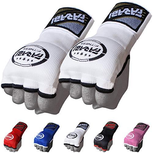 Guantes de entrenamiento Farabi sin dedos para gimnasio, fitness, boxeo, MMA, Muay Thai, con protector en los nudillos, color blanco, tamaño large/extra-large