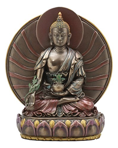 Gifts & Decor Ebros Bhaisajyaguru Medicine Buddha Meditating On Lotus Throne Statue 6' Tall Sculpture Bodhisattva King of Lapis Lazuli Light Healing Buddha Figurine