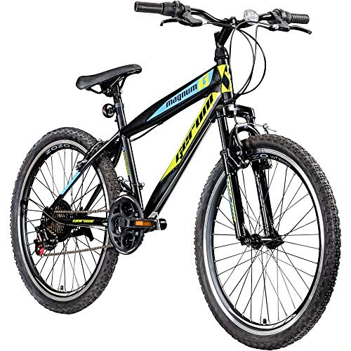 "Jugendfahrrad 24 Zoll Mountainbike Fahrrad 24\"" Geroni Magnum Hardtai MTB Jugend (schwarz/grün/blau, 36 cm)"
