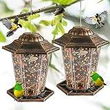 FUNPENY Hanging Bird Feeders, 2 Pack Panorama Gazebo Bird Feeders and Garden Decoration for Bird Watchers and Children