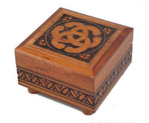 Celtic Knot Wooden Box Polish Handmade Linden Wood Celtic Keepsake Secret Opening