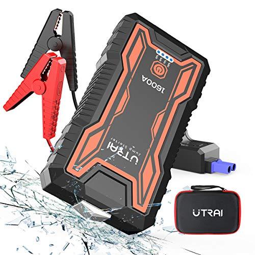 UTRAI Auto Starthilfe Jumpstarter Powerbank 16000mAh 1600A Spitzenstrom Tragbare Starthilfe Auto für 12V 7.0L Benzin oder 6.5L Dieselmotor,Sicherheitshammer,Dual USB, LED Taschenlampe