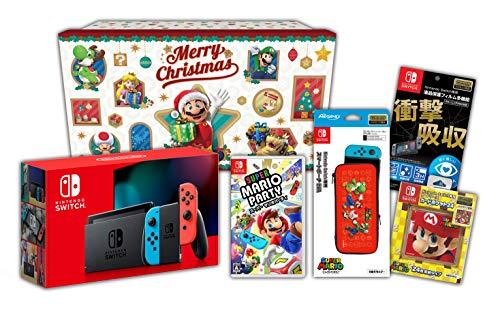 【Amazon.co.jp限定】<ニンテンドースイッチ ホリデーギフトセット>スーパー マリオパーティ+Nintendo Switch 本体 ネオンブルー/ネオンレッド+アクセサリーセット+おまけ付き