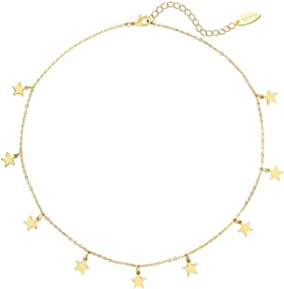 SEAYII Women Choker Necklace Gold Coin Tassel Star Dangle Square Figaro Layer Satellite 14K Gold Fill Trendy Dainty Chain Short Boho Beach Simple Delicate Handmade Gold Jewelry Gift