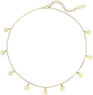 Women Choker Necklace Gold Coin Tassel Star Dangle Square Figaro Layer Satellite 14K Gold Fill Trendy Dainty Chain Short Boho Beach Simple Delicate Handmade Gold Jewelry Gift