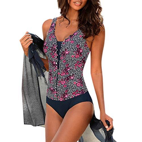 Zylione Tankini Damen Sommer Bademode Schlanke PassformSwimwear V-Ausschnitt Backless Swimsuits Blumendruck Retro Stil Slim Beachwear Figurformender Badekleid Einteiler Badeanzug