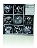 Set of Nine Black & Silver Christmas Tree Baubles (6cm) by Christmas Direct