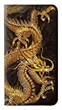 RW2804 Chinese Gold Dragon Printed PU Leather Flip Case Cover for Samsung Galaxy A71 5G [for A71 5G only. NOT for A71]