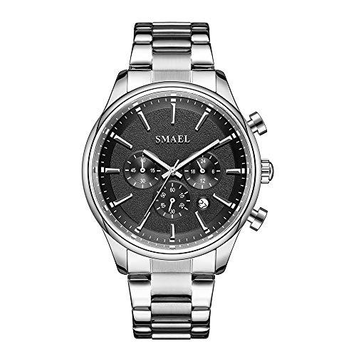 NEEKY Casual Uhr für Männer Black Fashion Kreative geometrische runde Edelstahl Herren Quarzuhren Geschenk Armbanduhr