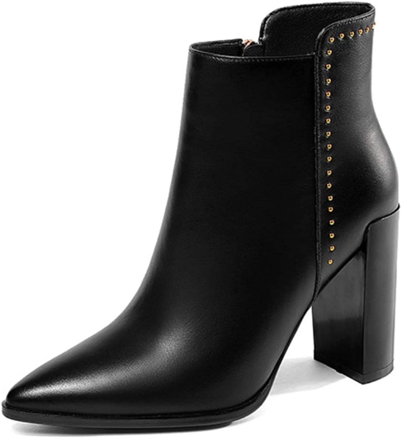 Shiney Leather Booties Female Chunky Heel Plus Velvet Booties Pointed Zipper Bare Boots Metal Rivets