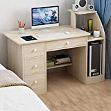 SHUDAGE Computer Desk Home Office Desks with Shelf, Student Study Desktop Desk Laptop Table Modern PC Workstation Dormitory Study Desk with 4 Bottom Storage Shelves and 4 Drawer (Beige)