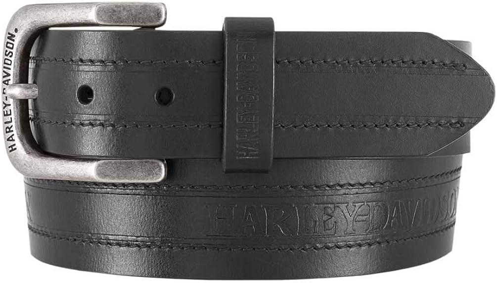 Harley-Davidson Men's Road Trip H-D Genuine Leather Belt - Antique Nickel Buckle