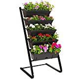 4ft Vertical Garden Raised Bed Freestanding Elevated Planters with 5 Container Boxes for Patio Balcony Flowers Indoor Outdoor, Black