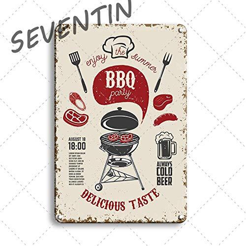 Ami0707 Tinplate Vintage BBQ ZONE Poster Metal Tin Sign Dad's Barbecue Rules Metal Plaque Sign Decorative Plates Retro Bar Pub Restaurant Decor 20x30cm 70062