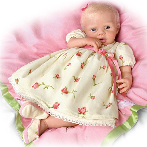 Lily Rose So Truly Soft Silique Silicone with Hand-Rooted Hair and 7-piece layette set & blanket ensemble