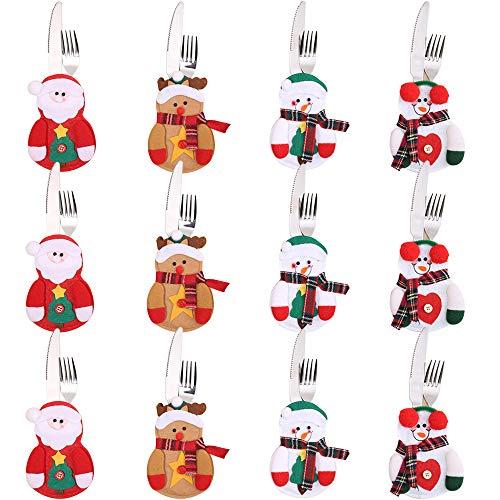 Gudotra 12pz Portaposate Natalizie da Pupazzo di Neve Babbo Natale Tasche Posate per Forchetta Cucchiaio Decorazione della Tavolo di Natale