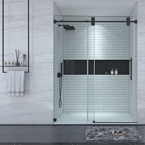 "LONDAMA Shower Door,Frameless Single Sliding Glass Shower Doors 3/8""(10mm) Clear Tempered Glass,Noiseless Shatterproof Bathroom Shower Doors (60""W x 76""H, Matte Black)"