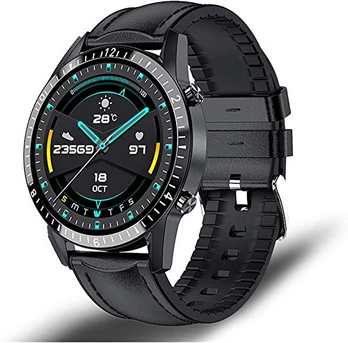 Reloj inteligente, pantalla táctil completa reloj de fitness IP68 impermeable conexión Bluetooth, adecuado para Android Los-Leather Negro