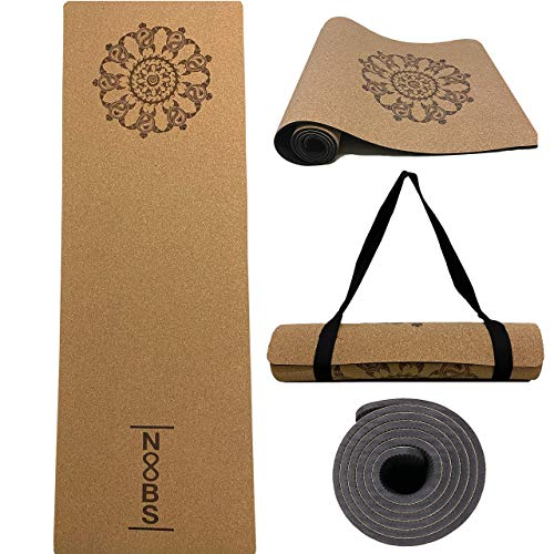 Noobs Premium Kork Yogamatte rutschfest, Gymnastikmatte 183x61cm 6mm dick Fitnessmatte mit Schildkröten Mandala Design