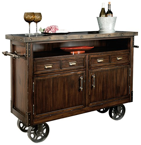 Howard Miller North Wine and Bar Storage Console 547-312 – Heavily Distressed Wooden Furniture