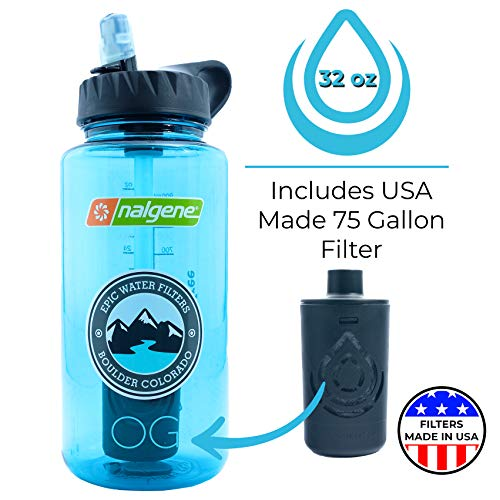 Epic Nalgene OG | Water Filtration Bottle | Wide Mouth 32 oz | American Made Bottle | USA Made Filter Removes 99.99% of Tap Water Contaminants Lead Chlorine Chromium 6 Arsenic Chloroform (Cerulean)