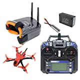 QWinOut Featherbird-135 Brushless FPV Racing Drone 2S 135mm DIY RC Quadcopter FPV Goggles RTF with MiniF4 FC Flysky FS I6 Remote Controller (red)