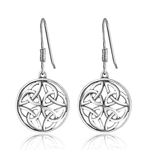 925 Sterling Silver Celtic Knot Round Charm Drop Earrings