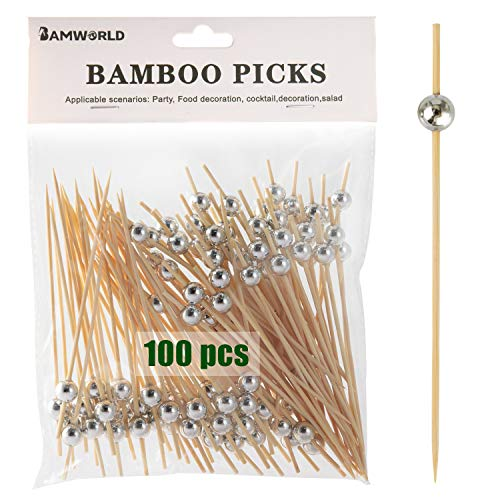 """4.7"""" Bamboo Appetizer Skewers with Gold Ball (100 ct)"""