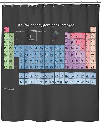 Wolfenthal Periodensystem Duschvorhang (schwarz), 180x200 cm inkl. Haken, deutsche Beschriftung, Anti-Schimmel-Beschichtung, stabile Metallösen, 100prozent Polyester, ohne Blei