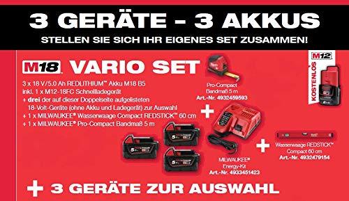 Milwaukee Vario Set M18 3x Geräte zur freien Auswahl 18 V inkl. Wasserwaage + Akku + Ladegerät + Box+ Maßband