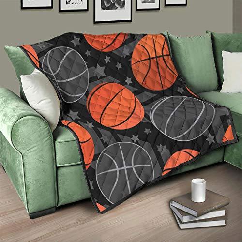 AXGM Colcha con diseño de pelota de baloncesto, color gris y naranja, 180 x 200 cm
