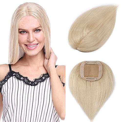 Clip in Extensions Echthaar Toupet für Frauen 100% Human Hair Natürlich Weich Haarteil mit 6 * 9cm Seide Basis 15cm-15g 60# Platinblond