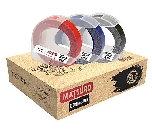Matsuro Original | Kompatibel Etiketten 3D Prägeband Ersatz für DYMO S0898150 S0898140 S0898130, Weiser Druck auf Rot, Blau, Schwarz (9 mm x 3 m | Kunststoff | 3-er PACK)