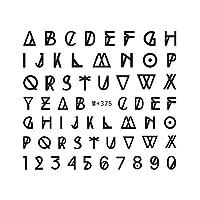 【M+375】幾何学模様アルファベットネイルシール 英字 数字 イニシャル