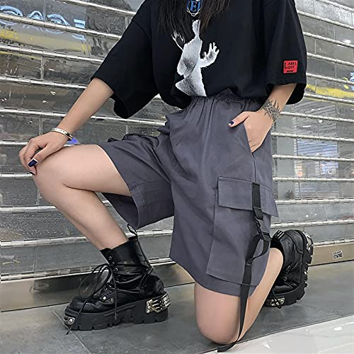 ShSnnwrl Pantalones Cortos de Mujer Shorts Women Elastic High Waist Big Pockets Boyfriend Streetwear Leisure All-Match Couples Plus Size 4XL WOM