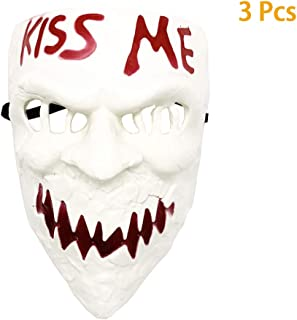 Halloween Purge Kiss Me Cosplay Mask Election Horror Costume Props 3Pcs