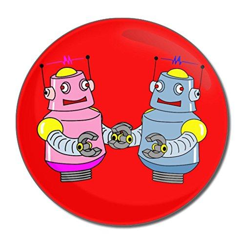 Red Robot Couple - Miroir compact rond de 55 mm
